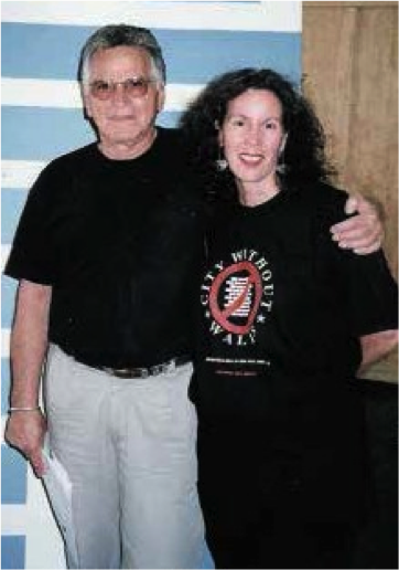 Artists For Peace and the Environment organizer and curator Jamie Ellin Forbes with Mel Lawrence, logistics coordinator for the original Woodstock Music and Arts Festival in 1969 as well as for Woodstock '99