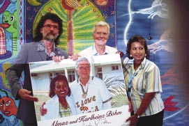 """Almaz and Kharlhienz Borhm, with their presentation donation photo on behalf of Much-en de Much-en """"People to People"""" ,Mr. Borhm's foundation which aids the children of Ethiopia in cooperation with UNICEF."""